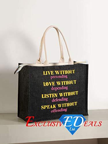 Jute Einkaufstasche Sackleinen Large Eco Wiederverwendbare Geschenk Tote Lunch Handtasche-34cm (H) X 41cm (W) -
