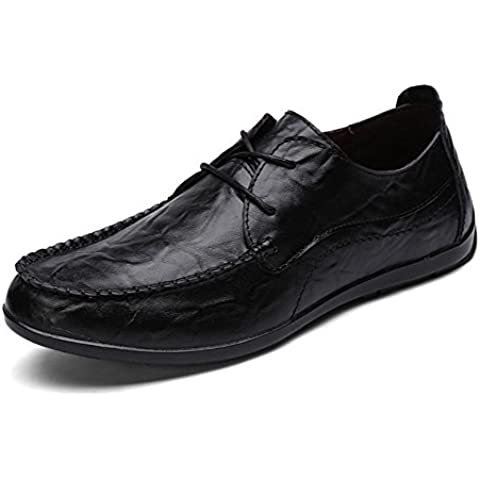 SONGYUNYAN Vintage pennello fuori casual stile inglese Handscraped pizzo moda sneaker barca scarpa , black , 43