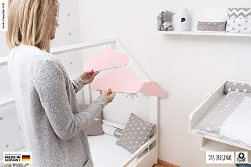 luvel (M6) – 3er Set XXL Wolken mit 3D-Effekt als Kinderzimmer Deko Wandtattoo Kinderzimmer 30×15 cm 5mm Kunststoff (rosa) - 3