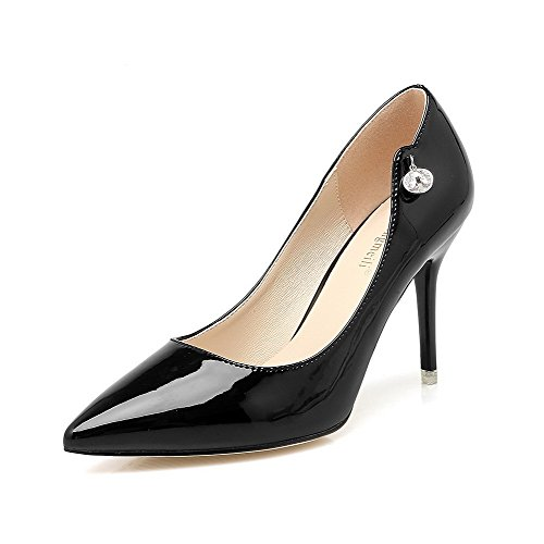 Senhoras Aalardom Salto Médio Dedo Apontado Desenhar Bombas Puramente Sapatos Com Água Diamante Zirkon Preto