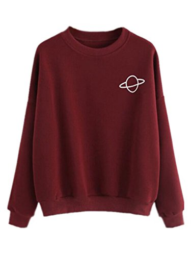 Gogofuture Sweatshirt Femme Manches Longues Col Rond Tops à Sweats Casual Pullover Brodé red