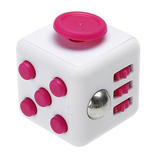 Fidget Cube With Case Desk Toy Set Clicker Joystick Buttons For Stress Anxiety Focus ADHD Autism Adults Kids Students Office Gift Pack (5#Rose Red) - 2