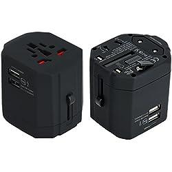 Adattatore Universale da Viaggio Spina Presa Internazionale 2 Porte USB Per IT UK USA EU AUS Protezione da Fusibile Con Custodia Nero