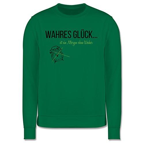 Statement Shirts - Wahres Glück ist ein Morgen ohne Wecker - Herren Premium Pullover Grün