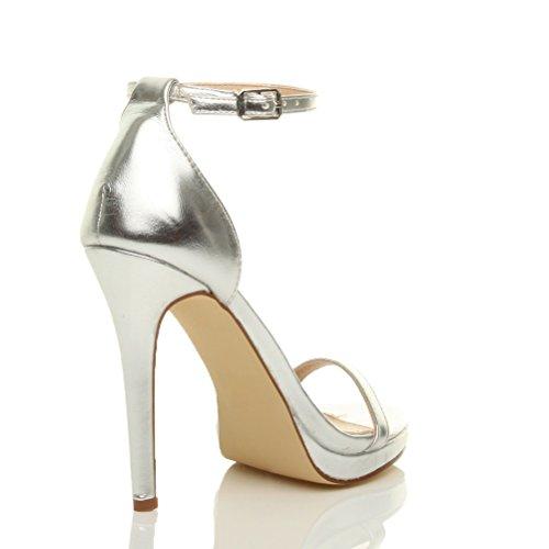 Femmes talons hauts boucle mode fête lanières chaussures sandales pointure Argent