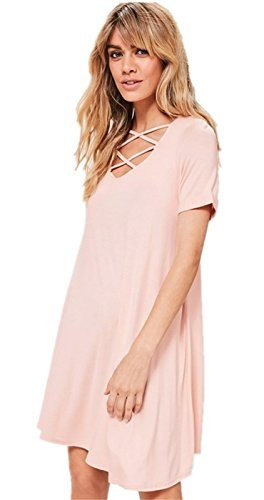 a Maniche Corte laccetto laccetti allacciatura davanti Neck T-Shirt Maglietta Mini Corte Corta Svasato a a trapezioio Maternità Dress Vestito Abito Rosa