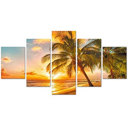 JunBo Frameless Malerei-Sonnenuntergangbrandung der dekorativen Malerei Ebay fünf Sätze Malereie