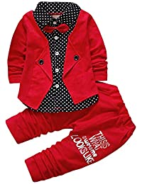 FG Trendz - Red Boy's Cotton Top and Bottom Suit Set Kids Party wear Shirt with Bow Cotton Outfits & Clothing Set Pants and Stitched Jacket for Boys Age:1-5 Years…