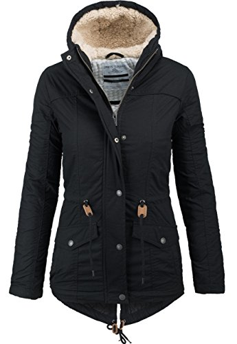Urban Surface warme Damen Winter Jacke Parka Mantel Winterjacke Teddyfell B294 [B294-Schwarz-Gr.XS]