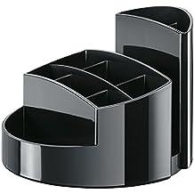 HAN Stifteköcher RONDO 17460-13 in Schwarz – Stiftebox aus hochwertigem Kunststoff mit 9 Fächern – Schreibtisch Ordnungssystem für das Büro