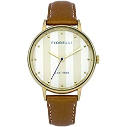 Fiorelli Women's Quartz Watch with White Dial Analogue Display and Brown Leather Strap FO017TG