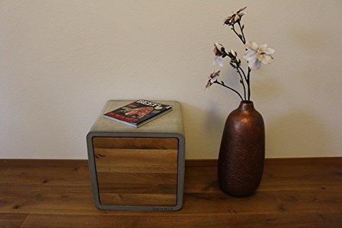 DEVIGA Beton Cube mit Eichentüren: Couchtisch/Beistelltisch/Nachtkästchen