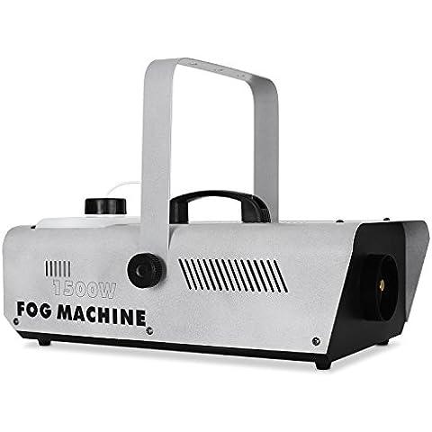 Lightcraft Fog máquina de humo (potencia de 1.500 W, volumen de 1 l, rápido calentamiento en 5 - 10 minutos, también para principiantes, salida de niebla hasta 10 m) - plateado