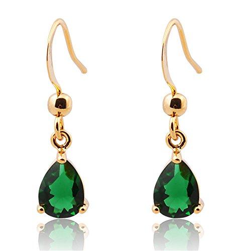 Se?ora de la joyer¨ªa de regalo verde esmeralda plateado del oro amarillo Pendientes cuelga