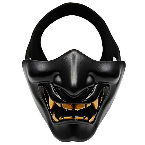Ting-Times Protective Airsoft Half Face Masks Lower Face Protective Mask Impact Resistance Hannya Oni Half Cover for Outdoor CS Game BB Gun Halloween Costume Cosplay Prop (Black) -