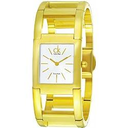 Calvin Klein de las mujeres tono dorado correa de acero y carcasa cuarzo suizo Silver-tone Dial analógico reloj K5912220