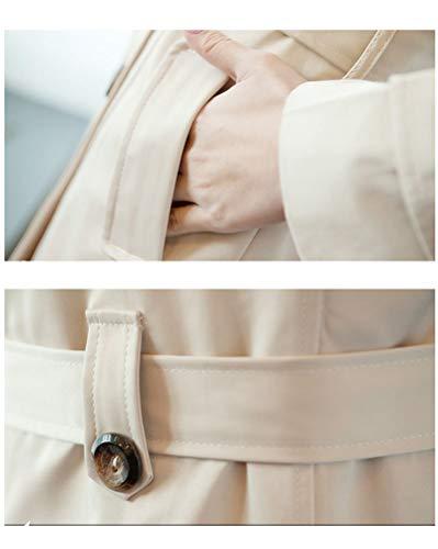 Classic Pink Damen kurz Trenchcoat Zweireihig Slim Revers Mantel Beige XS - 6