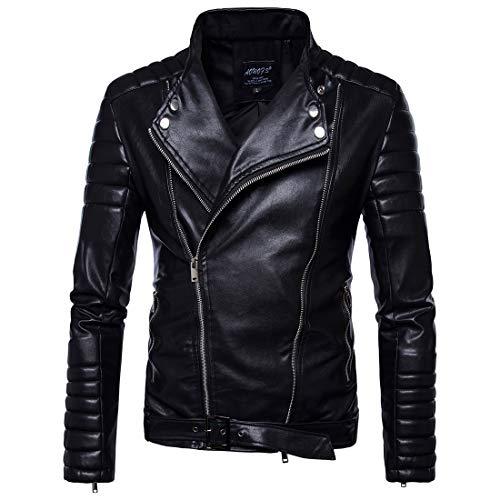 TFGY Herren Motorradjacke mit Gürtel,Black,XL