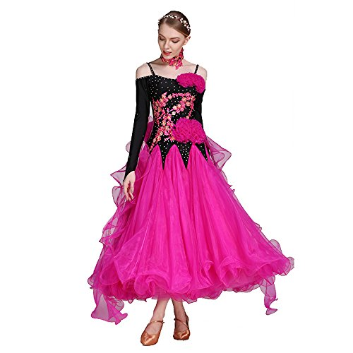 ZTXY Damen Hand Bestickt Modern Dance Kleid Großen Pendel Rock National Standards Dance Dress Tanzwettbewerb Performance Kleid Strass Tanz Kostüm Tango Walzer Rock,Pink,M