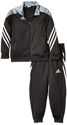 adidas Unisex - Kinder Trainingsanzug Sereno14, Top:black/silver/white Bottom:black/white, 164, F49707