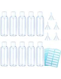 Aneco 10 pezzi 100ml Set da viaggio in plastica trasparente per bottiglie vuote Vedi See Tube Bottiglie con 5 pezzi Piccoli imbuti e 4 pezzi Etichette autoadesive