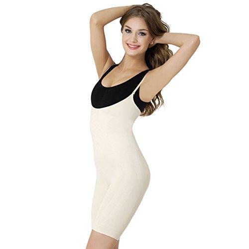 Formeasy Damen Shapewear mit eigenem BH tragen, Taillenformer mit Bein, stark formende Unterwäsche mit Bauchweg Effekt - Miederbody Figurformender Body Shaper Beige