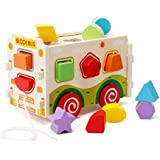 Babytintin Classic Wooden Assembling Push And Pull Along Shape Sorter Bus Learning Toy For Kids