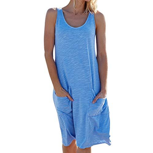 Sannysis Strandkleid Swing Freizeitkleid Casual Einfaches Rundhals Ärmellos Kleider A-Linie Lang Knielang Etuikleider Baumwolle Sommerkleid Damen Elegant (L, Blau)