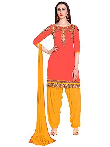 Bigben Orange Cotton Embroidery Designer Patiala Salwar Suits