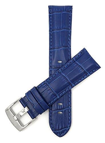 Leder Uhrenarmband 22mm für Herren, Königsblau, Alligatormuster, auch verfügbar in schwarz, braun, rot, hellbraun