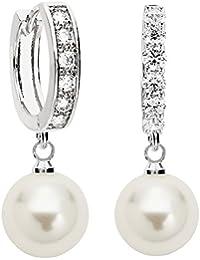 MYA art Damen Ohrringe Creolen Hängend 925 Silber mit Perlen Swarovski Elements Kristall 10mm Weiß