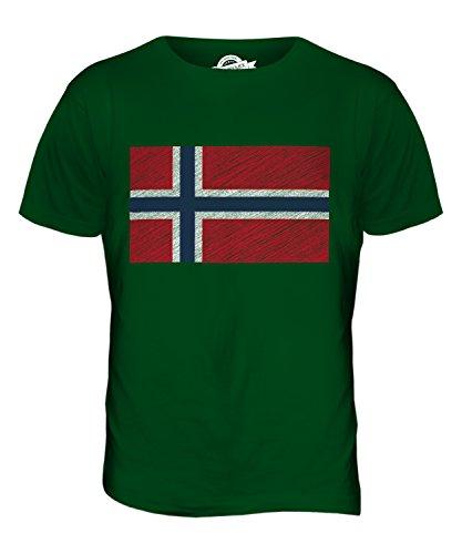 CandyMix Norwegen Kritzelte Flagge Herren T Shirt Flaschengrün