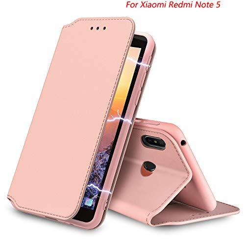 AURSTORE XIAOMI REDMI Note 5 Hülle Handyhülle XIAOMI REDMI Note 5 Tasche Leder Flip Case Brieftasche Etui Schutzhülle für XIAOMI REDMI Note 5 (rose gold)