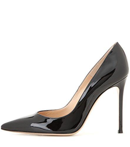 Elegante Edefs Schwarz 100mm Pumps High Office Damenschuhe Schuhe Abschlussball Partei Heel Standard Spitz Faschion frqfwEA