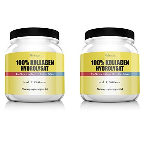 Pro Natural Kollagen Hydrolysat Collagen für die Gelenke & Knorpel 2er Pack (2 x 500 g) Dosen ( Collagen Protein Pulver )
