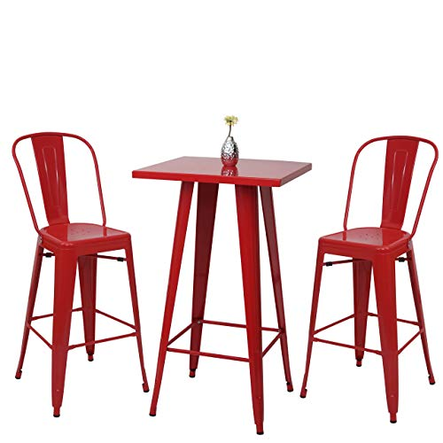 Mendler Set Table Mange-depout + 2X Tabouret de Bar HWC-A73, Chaise/Table de Bar, Design Industriel ~ Rouge