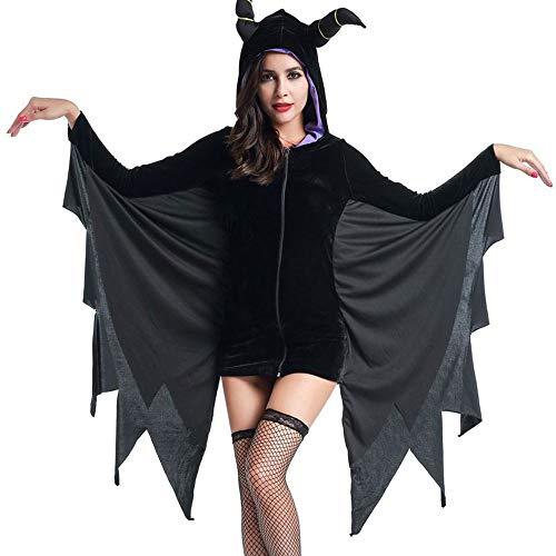 Edelehu Bat Halloween Kostüm Tunika Hooded Robe Kapuzenmantel Cape Medieval Kapuzen-Party-Ausrüstung,L