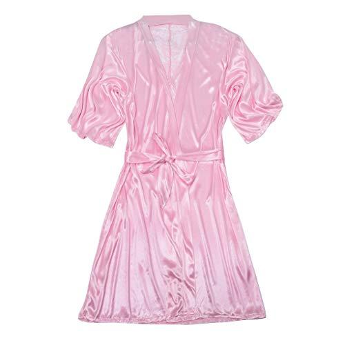 LOPILY Damen Morgenmantel Bademantel Satin Blumenspitze Saum Kurz Sleepwear Bequem Nachtwäsche Kleid Nachtkleid mit Gürtel Schlafanzug Negligee(X1-Rosa,XL)
