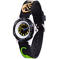Wolfteeth Analog Grade School Toddlers Children's Watch with Second Hand 3D Dinosaur Strap White Dial Water Resistant Boy Watch 3059
