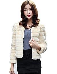 Cappotto di Pelliccia Ecologica Faux ,ROPALIA Corto Soffice Caldo Inverno Autunno Parka Outwear Top Donna