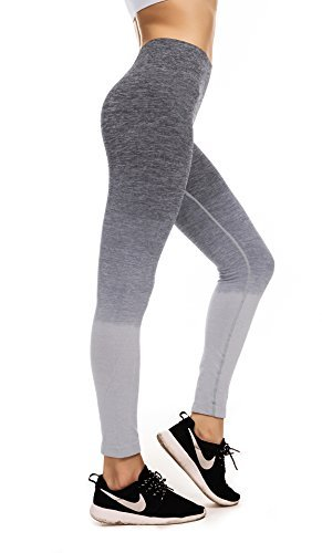 Fanceey Damen Sport Ombre Yoga Hosen Hohe Taille Abnehmen Flexible Leggings Elastische Strumpfhosen Für Frauen Outdoor Jogger Grau(Grey)