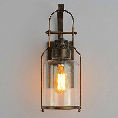 Lightoray Wandlampe E27 Vintage Edison Bulb Outdoor antiken Industrie Bügeleisen Galerie Rustikal Wandleuchte für Schlafzimmer Wohnzimmer Esstisch Küche Esszimmer Loft Coffee Bar