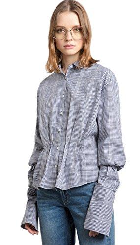 Plaid Tartan Check Carreaux Boutonnée Boutonné Boutons Sur Le Devant Manches Longues à basque Blouse Chemisier Shirt Chemise Haut Top Bleu Bleu