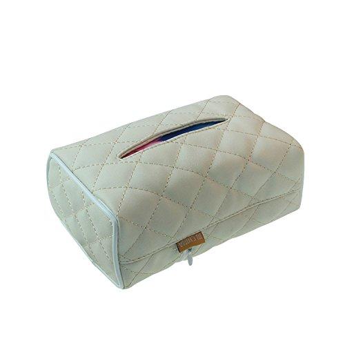 Tissue Box Auto Tissue-Boxen Leder Serviette Box Kosmetiktücherbox Taschentuchbox Taschentuchspender mit Elastic Band Zuhause Büro (Weiß)