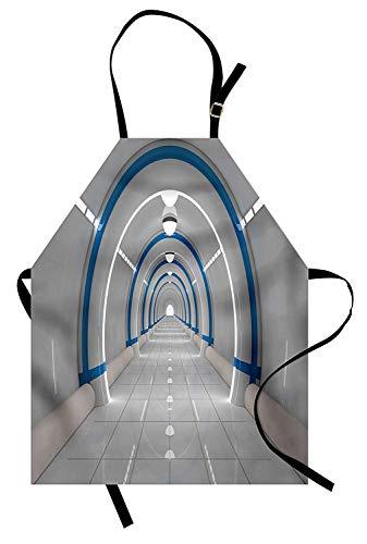 Soefipok Weltraum-Schürze, Galaxy Texturierte Raumfahrt Animation Flash Force Travel Statischer Bilddruck, Unisex-Küchenschürze mit verstellbarem Hals zum Kochen Backen Gartenarbeit, Grau-Blau