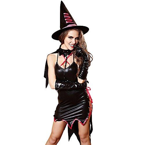 FIZZENN Frauen Sexy Hexenkostüm Fantasie Kleid Halloween Party Dark Sorceress Kostüm,L (Bezaubernd Hexe Für Erwachsene Kostüm)