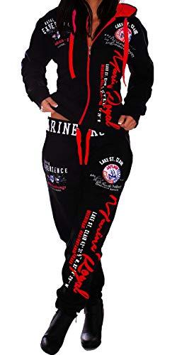 Unbekannt Damen Frauen Trainingsanzug Jogginganzug Sportanzug Streetwear Jogger A.Marine schwarz-Rot L