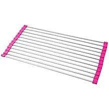 """scoolr muti-rack más de el fregadero de acero inoxidable escurreplatos–enrollable, salvamanteles, plegable, refrigeración, resistente al calor, fácil de limpiar y almacenar, libre de BPA 18.5""""X9""""X1/4"""" Rose Red"""
