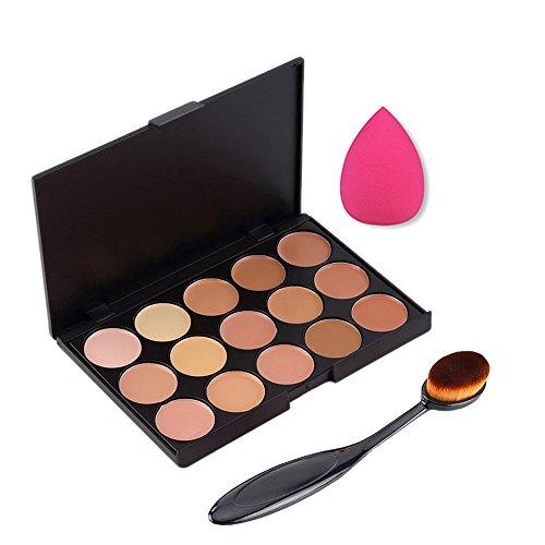 Boolavard 3PCS / set Professionnel 15 couleurs Palette Correcteur Maquillage Crème Primer + Ovale Mélange Brosse + Maquillage éponge Impeccable outils Bouffantes