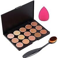 Boolavard 3pcs / set Professionale 15 colori Concealer Makeup Cream Primer + Pennello Blending Ovale + Spugna Trucco Impeccabile Strumenti Soffio